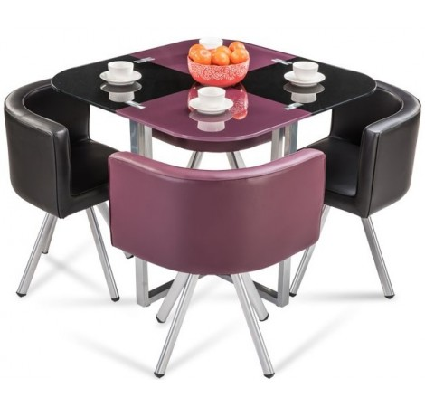 Neon Glass Stowaway Square Dining Set Purple Black Dining Table At Durian